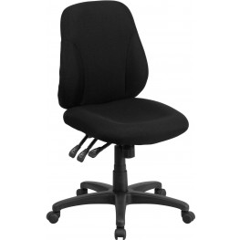31842 Mid-Back Black Fabric Multi-Functional Ergonomic Swivel Task Chair