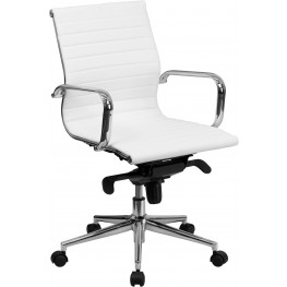 White Ribbed Upholstered Conference Chair (Min Order Qty Required)