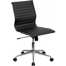Armless Black Ribbed Upholstered Conference Chair (Min Order Qty Required)