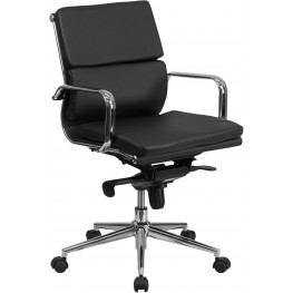 Black Executive Swivel Office Chair with Synchro-Tilt Mechanism