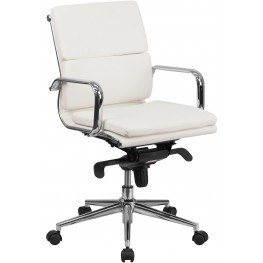 White Executive Swivel Office Chair with Synchro-Tilt Mechanism