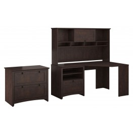 Buena Vista Madison Cherry Corner Desk With Hutch & Lateral File