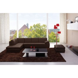 Catania Brown Italian Leather LAF Sectional