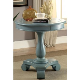 Kalea Antique Teal Round Accent Table