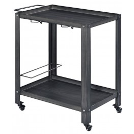 Thea Black and Brushed Silver Serving Cart