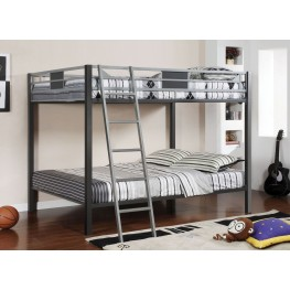 Cletis Silver and Gun Metal Full Over Full Bunk Bed