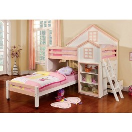 Citadel Pink and White Twin Over Twin Loft Bed
