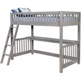 Aiken Gray Twin Loft Bed With Workstation