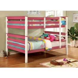 Lorren Pink and White Full Over Full Bunk Bed