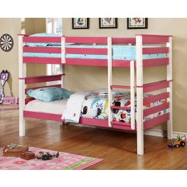 Lorren Pink and White Twin Over Twin Bunk Bed