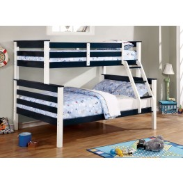 Lorren Blue and White Full Over Full Bunk Bed