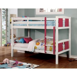 Corral Pink and White Twin Over Twin Bunk Bed