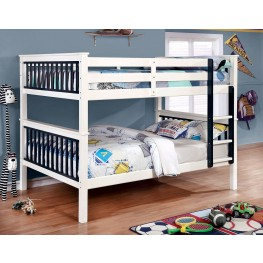 Corrin Blue and White Full Over Full Bunk Bed