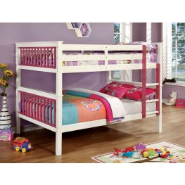 Corrin Pink and White Full Over Full Bunk Bed