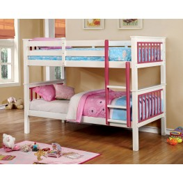 Corrin Pink and White Twin Over Twin Bunk Bed