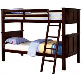 Gracie Dark Walnut Twin Over Twin Bunk Bed