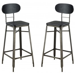"Odalys Gray and Black 29"" Bar Chair Set Of 2"