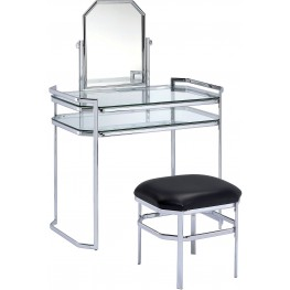 Colleen Chrome Vanity With Stool