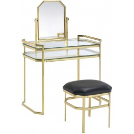 Colleen Gold Vanity With Stool