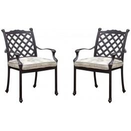 Chiara I Tan and Dark Gray Fabric Arm Chair Set of 4