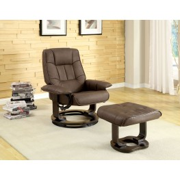 Chester Brown Leatherette Swivel Lounger With Ottoman