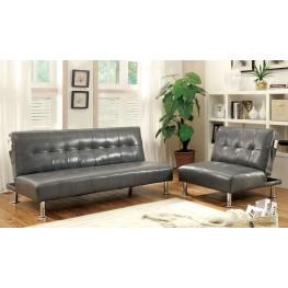Bulle Gray Leatherette Living Room Set