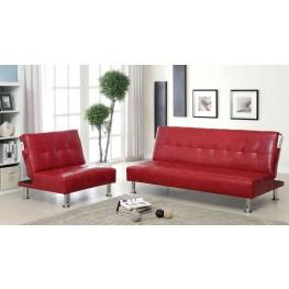 Bulle Red Leatherette Living Room Set