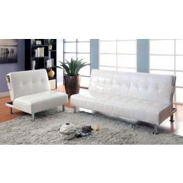 Bulle White Leatherette Living Room Set