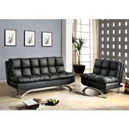 Aristo Black Leatherette Living Room Set