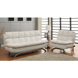Aristo White Leatherette Living Room Set