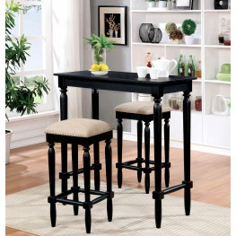 Oprah Black and Ivory 3 Piece Bar Table Set