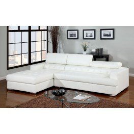 Floria White Bonded Leather Match Sectional