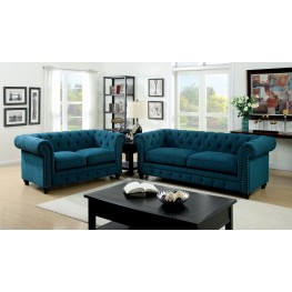 Stanford Dark Teal Fabric Living Room Set from Furniture of America ...