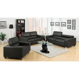 Makri Black Bonded Leather Match Living Room Set