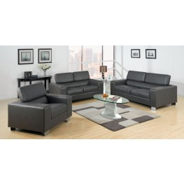 Makri Gray Bonded Leather Match Living Room Set