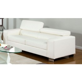Makri White Bonded Leather Match Sofa