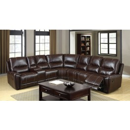 Keystone Brown Bonded Leather Match Reclining Sectional