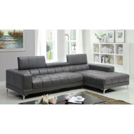 Bourdet II Gray Bonded Leather Match Sectional