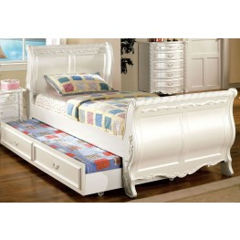 Alexandra Pearl White Twin Sleigh Bed