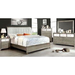 Bryant Silver Crocodile Leatherette Bedroom Set