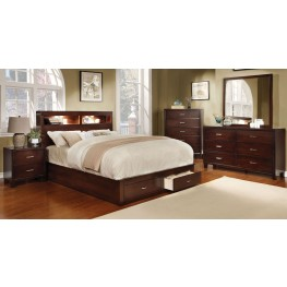 Gerico II Brown Cherry Storage Platform Bedroom Set