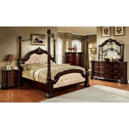Monte Vista I Ivory Leatherette Poster Canopy Bedroom Set