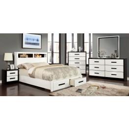 Rutger White and Black Platform Storage Bedroom Set