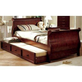 Louis Philippe Jr. Dark Cherry Full Trundle Sleigh Bed