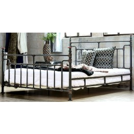 Mcalroy I Antique Black Twin Metal Panel Bed
