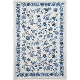 "Colonial Ivory and Blue Floral 96"" X 24"" Rug"