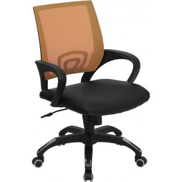 Mid-Back Orange Computer Chair with Black Seat