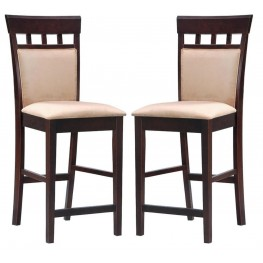 Rich Cappuccino Counter Height Stool with Upholstered Back Set of 2