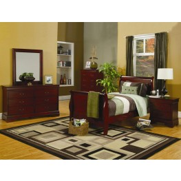 Louis Philippe Cherry Youth Sleigh Bedroom Set