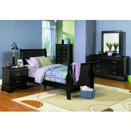 Louis Philippe Black Youth Sleigh Bedroom Set